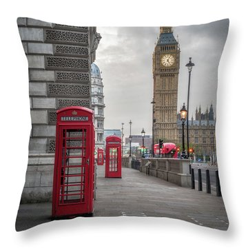 London Phone Booths And Big Ben Throw Pillow