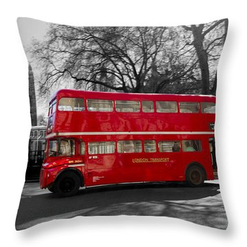 London Red Bus Throw Pillow