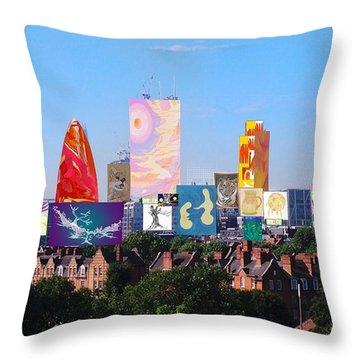 London Skyline Collage 1 Throw Pillow
