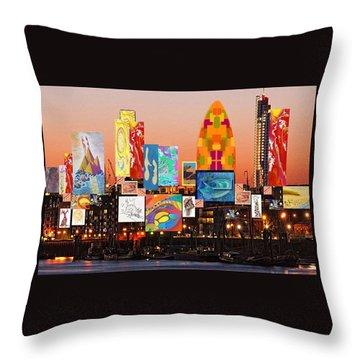 London Skyline Collage 2 Throw Pillow