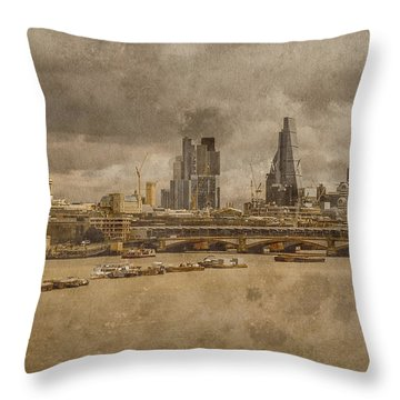 London, England - London Skyline East Throw Pillow