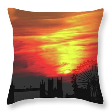 Sunset London Throw Pillow