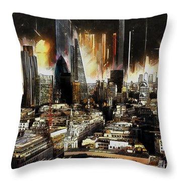 Throw Pillow featuring the painting London Skyline by Kai Saarto