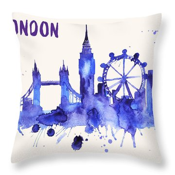 London Skyline Watercolor Poster - Cityscape Painting Artwork Throw Pillow