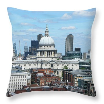 London Skyscrape - St. Paul's Throw Pillow by Mini Arora