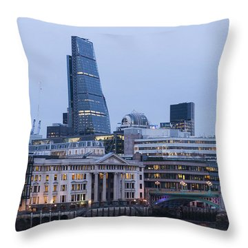 Throw Pillow featuring the photograph London Skyscrapers by David Isaacson