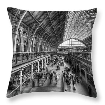 London St Pancras Station Bw Throw Pillow