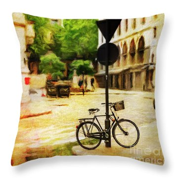 Throw Pillow featuring the photograph London Street Bicycle by Craig J Satterlee