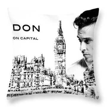 Throw Pillow featuring the digital art London The Fashion Capital by ISAW Company