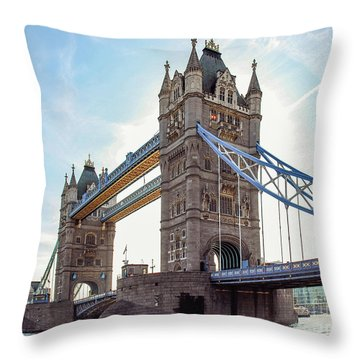 Throw Pillow featuring the photograph London - The Majestic Tower Bridge by Hannes Cmarits