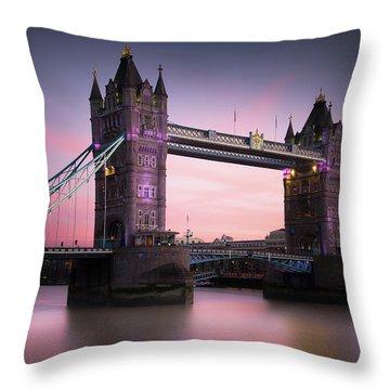 London, Tower Bridge Sunset Throw Pillow