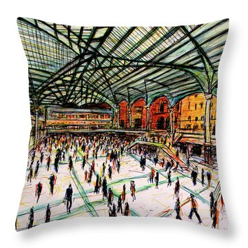 London Train Station Throw Pillow