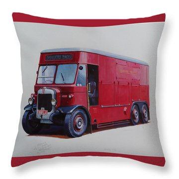 Throw Pillow featuring the painting London Transport Wrecker. by Mike Jeffries