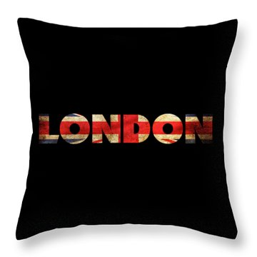 London Vintage British Flag Tee Throw Pillow