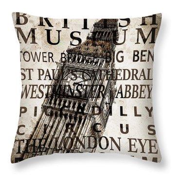 London Vintage Poster Sepia Throw Pillow