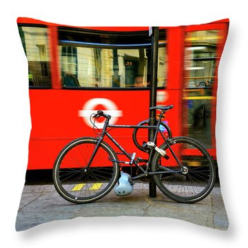 Throw Pillow featuring the photograph _london Walking Tours Bicycle by Craig J Satterlee