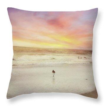 Lone Bird At Sunset Throw Pillow