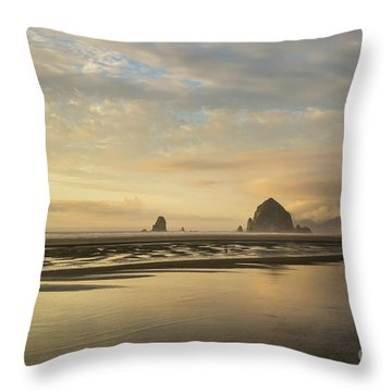 Sunset At Haystack Rock Throw Pillow
