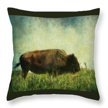Lone Bison On The Prairie Throw Pillow by Ann Powell