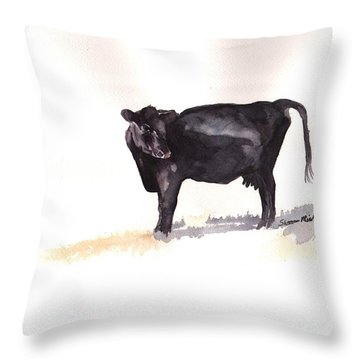 Lone Black Angus Throw Pillow