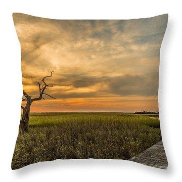 Lone Cedar Dock Sunset - Dewees Island Throw Pillow