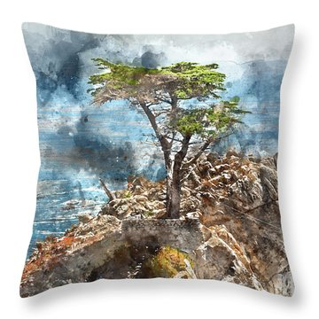 Lone Cypress In Monterey California Throw Pillow