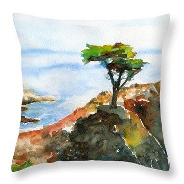 Lone Cypress Pebble Beach Fog Throw Pillow