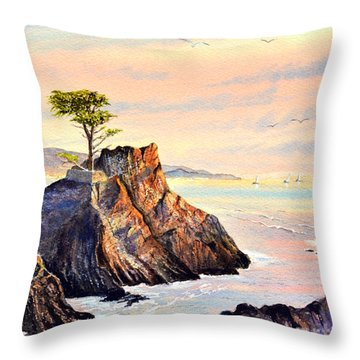 Lone Cypress Tree Pebble Beach Throw Pillow by Bill Holkham