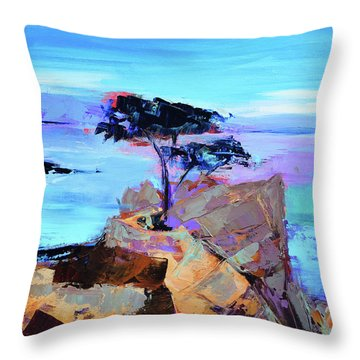 Throw Pillow featuring the painting Lone Cypress by Elise Palmigiani