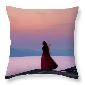 Lone Figure On The Cob, Lyme Regis, Dorset, Uk, At Sunrise. Throw Pillow