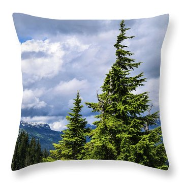 Lone Fir With Clouds Throw Pillow