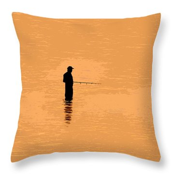 Lone Fisherman Throw Pillow by David Lee Thompson