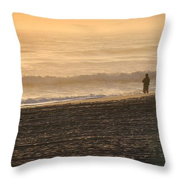 Lone Fisherman On A Misty Morning Throw Pillow