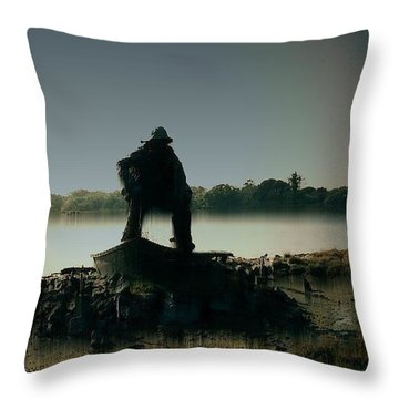 Lone Fisherman Statue Throw Pillow by Julie Grace