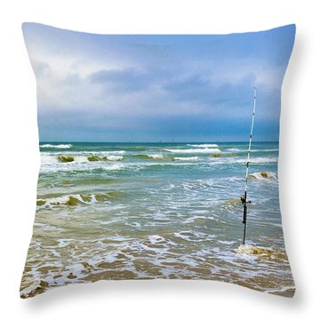 Lone Fishing Pole Throw Pillow