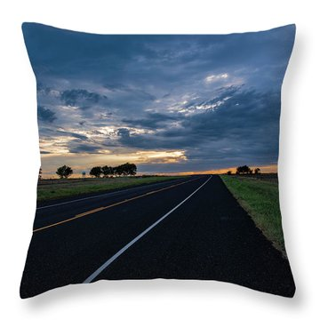 Lone Highway At Sunset Throw Pillow