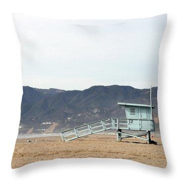 Lone Lifeguard Tower Throw Pillow