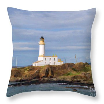 Throw Pillow featuring the photograph Lone Lighthouse In Scotland by Roberta Byram
