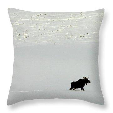 Lone Moose Throw Pillow