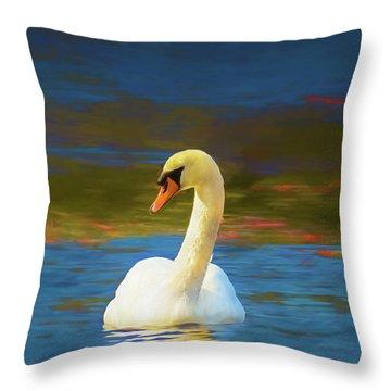 Lone Mute Swan. Throw Pillow