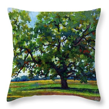 Throw Pillow featuring the painting Lone Oak by Hailey E Herrera