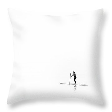 Throw Pillow featuring the photograph Lone Paddle Boarder by Will Gudgeon