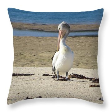 Lone Pelican Throw Pillow