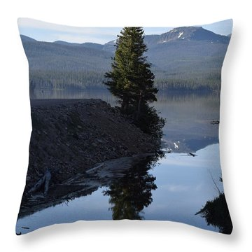 Lone Pine Reflection Chambers Lake Hwy 14 Co Throw Pillow