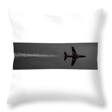 Throw Pillow featuring the photograph Lone Red Arrow Smoke Trail - Teesside Airshow 2016 by Scott Lyons