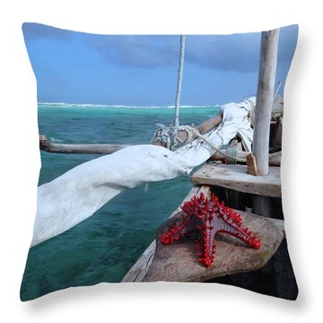 Lone Red Starfish On A Wooden Dhow 1 Throw Pillow