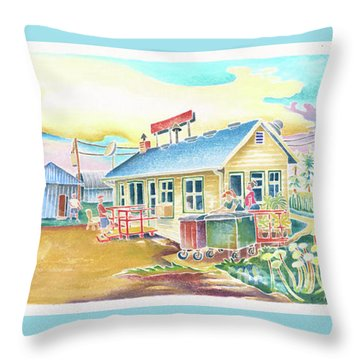Lone Rock Airport Throw Pillow by Linda Kelen