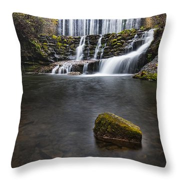 Lone Rock At The Falls Throw Pillow