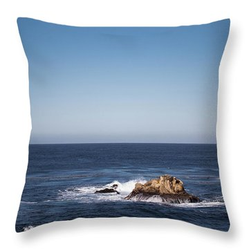 Throw Pillow featuring the photograph Lone Rock In The Ocean by Jingjits Photography