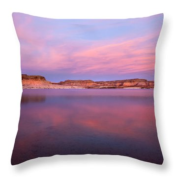 Lone Rock Sunset Throw Pillow by Mike  Dawson